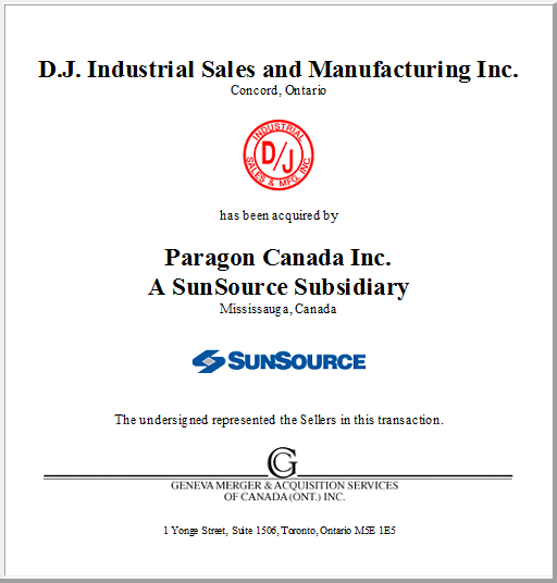 D.J. Industrial Sales and Manufacturing Inc.